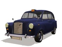 English taxi. Computer image 3D, old automobile white background Royalty Free Stock Photography