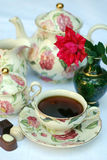 English tea. Traditional english tea with floral dishware and rose.Selective focus Stock Images