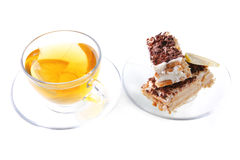 English tea and cakes. English tea and cheese cakes on saucer Royalty Free Stock Photos