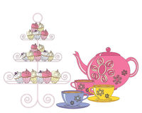English tea. An illustration of a selection of fancy cakes teapot and tea cups for an afternoon tea on a white background royalty free illustration