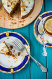 English tea with lemon and carrot cake Stock Images