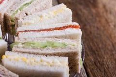 English tea sandwiches on cake stand Stock Image