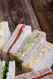English tea sandwiches on cake stand Royalty Free Stock Images