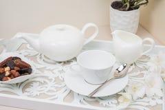 English tea set with dried fruit Royalty Free Stock Photos