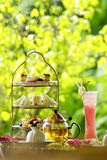 English tea setting with fruit juice and bread Royalty Free Stock Images