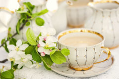 English tea. In spring garden Stock Photos