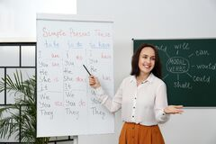 Free English Teacher Giving Lesson On Simple Present Tense Near Whiteboard In Classroom Royalty Free Stock Photography - 216742647