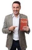 English teacher holds Dictionary Stock Photos