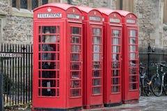 English telephone red cabin in Cambridge Stock Photo