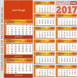 English template wall quarterly calendar 2017. Template size for printing 300×804 mm, vector Stock Photos
