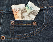 English Bank Notes In Denim Pocket Stock Photography