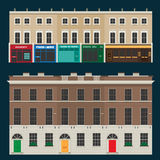 English terrace houses. Buildings set with english terrace houses Stock Photography