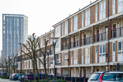 English terraced houses in contrast to modern luxury flats in th stock photos