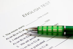 English Test Stock Photography
