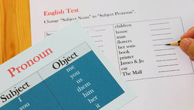 English test sheet on wooden desk. Represent school test in classroom Stock Photos