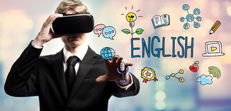 English text with businessman using a virtual reality stock image