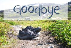Shoes On Trekking Path, English Text Goodbye royalty free stock image