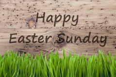 Bright Wooden Background, Gras, Text Happy Easter Sunday Stock Image