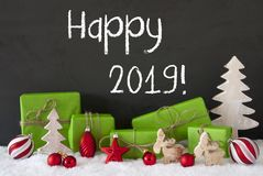 Christmas Decoration, GIfts, Cement, Snow, Text Happy 2019 Royalty Free Stock Photo