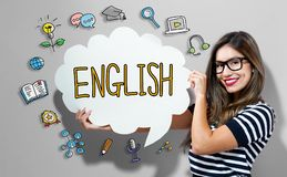 English text with woman holding a speech bubble. English text with young woman holding a speech bubble Stock Photos