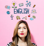 English text with young woman Royalty Free Stock Image