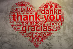 English Thank you - Heart shaped word cloud, Grunge Background Royalty Free Stock Photo