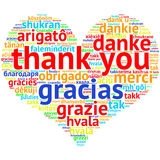 English Thank you - Heart shaped word cloud, on white Stock Image