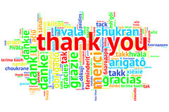 English Thank you, Open Word Cloud, Thanks, on white Stock Photo