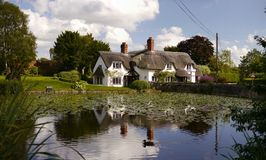An English Thatched House by a Duckpond. Stock Photo