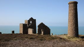 English tin mine ruins Cornwall UK Royalty Free Stock Images