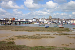 English town. Footbridge over the river adur with boats and church to view. Taken at shoreham by sea, west sussex, England Stock Photos