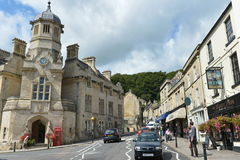English Town - Bradford on Avon. General street view of people and cars in the old town on August 17, 2014 in Bradford on Avon, UK. The historic Wiltshire town Royalty Free Stock Image
