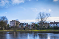 An English town on the river. An ordinary English town on the river in winter Stock Photos