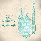 English translate Eid Mubarak. Beautiful Mosque on sparkling lights and stars background. Islamic celebration greeting card.  Stock Photography