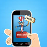 English translation app concept. Smart Phone uncle Sam man sign translation concept background. Vector illustration layered for easy editing Stock Photos