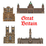 English travel landmark of Great Britain thin icon Stock Photography