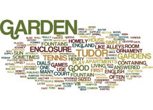 English Tudor Gardens Word Cloud Concept. English Tudor Gardens Text Background Word Cloud Concept Royalty Free Stock Images