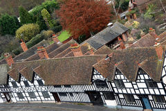 English Tudor houses. Aerial view of tudor style houses in traditional English village Royalty Free Stock Image