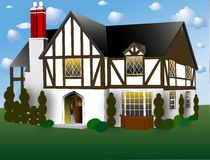 English Tudor Style. This style of house incorporates many different styles so is not a pure style. It's main appearance attributes were stucco and half timers Royalty Free Stock Photo