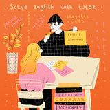 English tutor teaches a student individually. Foreign language lesson. royalty free illustration