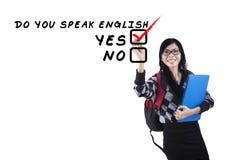 English tutor writes on whiteboard Royalty Free Stock Photos
