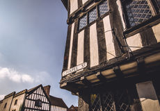 English typical Tudor housing - Shakespeare's birthplace. Half timbered tudor style architecture at a street of William Shakespeare's birthplace, Stratford-upon Royalty Free Stock Image