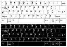 English, us white and black keyboard layout Royalty Free Stock Images