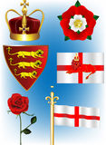 English Vector Collection. A crown, a tudor rose, a red shield with the three lions, a red lion, an England Flag and the Red rose Royalty Free Stock Photos