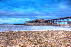 English Victorian pier Birnbeck island Weston-super-Mare Somerset England in colourful HDR Royalty Free Stock Image