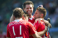 English Victory. THE HAGUE, NETHERLANDS - JUNE 2: English field hockey players celebrate after Simon Mantell scores the winning goal against India (2-1) at the Royalty Free Stock Image