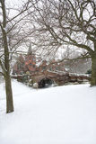 English village bridge in winter snow. English village bridge in winter snow, Port Sunlight, Wirral, England royalty free stock images
