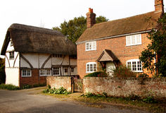 English Village Cottages. Quaint Village street and Cottages in Rural England Stock Photo