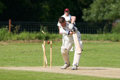 English Cricket. Batsman in Village Cricket gets clean bowled middle stump royalty free stock photo