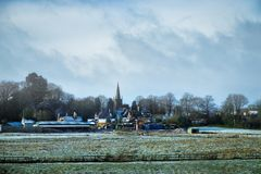 English village landscape from the car window. Village Royalty Free Stock Image